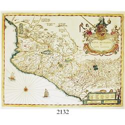 1635 Dutch map (copper-plate engraving) of Mexico by Willem Blaeu entitled NOVA HISPANIA, ET NOVA GA