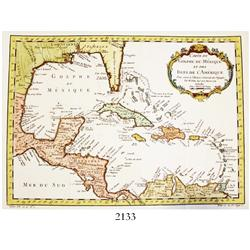 "1754 (dated) French map of the Caribbean by Jacques Nicolas Bellin, entitled ""Carte du Golphe du Mex"