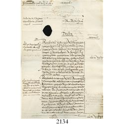 1599 Spanish colonial document from Mexico concerning gold, 4 pages, with cancellation hole.