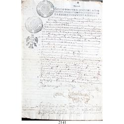 Lot of 5 Spanish colonial documents from Mexico dated 1656-1819, with official seals, one with addit