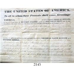 1845 sale of land under an Indian land grant signed by (the secretary of) President John Tyler, with