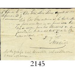Spanish-American War in Cuba, letter by Antonio Maceo (hand-signed with Masonic symbol of 3 dots in