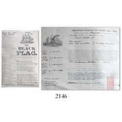Lot of 2 miscellaneous documents with engravings of ships: 1877 Portuguese bill of lading and early-