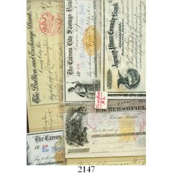 Lot of 5 bank drafts and certificates of deposits (and one envelope) of the 1860s-1880s from banks i