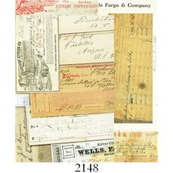 Lot of 13 documents pertaining to Wells Fargo and other Express companies of the 1860s-1900s.