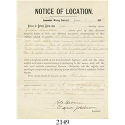 "Mining claim document (""Notice of Location"") dated 1905, Calistoga, California."