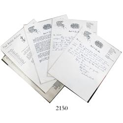 1715 Fleet: Lot of 5 letters from the 1960s on letterhead for Real Eight Co., Inc., and Foul Anchor