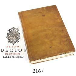1672 vellum-bound book in Spanish entitled Reyno de Dios Compendio, y Medula de Toda la Corte Santa