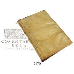 1711 large vellum-bound book in Spanish entitled Comentarios de la Guerra de Espana desde el Princip