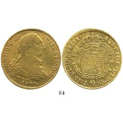 Santiago, Chile, bust 8 escudos, Charles IV (bust of Charles III), 1800DA.