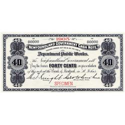 NEWFOUNDLAND GOVERNMENT CASH NOTE.  Forty Cents.  1905.  NF-2eS.  A Specimen.  PMG graded Superb Gem