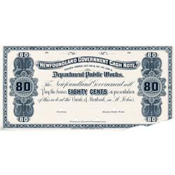NEWFOUNDLAND GOVERNMENT CASH NOTE.  Eighty Cents.  NF-8P.  1901-09.  A Face Proof on thin paper.  A