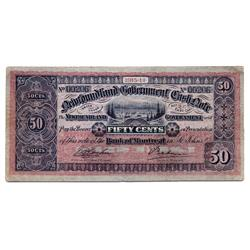 NEWFOUNDLAND GOVERNMENT CASH NOTE.  Fifty Cents.  1913-1914.  NF-8d.  PMG graded Very Fine-20.