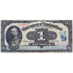 GOVERNMENT OF NEWFOUNDLAND.  $1.00.  Jan. 2, 1920.  NF-12d.  Renouf-Browning.  No. A086918.  PMG gra