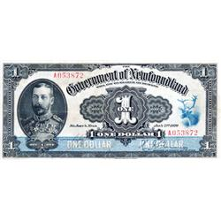 GOVERNMENT OF NEWFOUNDLAND.  $1.00.  Jan. 2, 1920.  NF-12d.  Renouf-Browning.  No. A053872.  A brigh