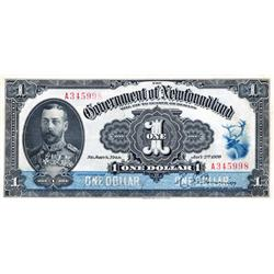 GOVERNMENT OF NEWFOUNDLAND.  $1.00.  Jan. 2, 1920.  NF-12d.  Renouf-Browning.  No. 345998.  Washed &