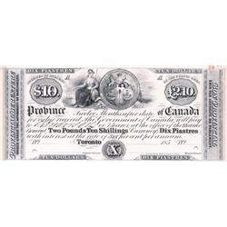 PROVINCE OF CANADA.  $10.00. (2.10 Pounds).  185-.  A Face Proof on thick card.  PCGS graded Ch. Unc