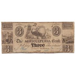 THE AGRICULTURAL BANK, Montreal, Lower Canada.  C. 1837-47.  $3.00.  CH-15-10-06.  No. 148/A.  PMG g