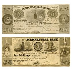 THE AGRICULTURAL BANK.  $1.00. (5 Shillings). Oct. 1, 1837. CH-20-12-04-02. No. 130/A. Fine. Small v