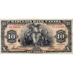 BARCLAY'S BANK (CANADA).  $10.00.  Jan. 2, 1935. CH-30-12-06.  PMG graded Very Fine-25.