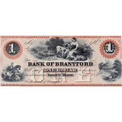 BANK OF BRANTFORD.  $1.00.  Nov. 1, 1859.  CH-40-12-02R.  A Remainder.  PMG graded Unc-63. EPQ.