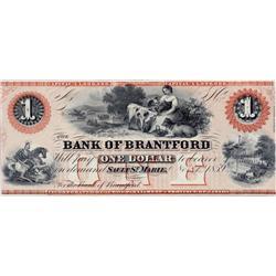 BANK OF BRANTFORD.  $1.00.  Nov. 1, 1859.  CH-40-12-02R.  A Remainder.  PMG graded Unc-63. EPQ.
