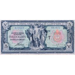 THE CANADIAN BANK OF COMMERCE.  $5.00.  Jan. 2, 1917.  CH-75-16-04-04.  No. 022022/C.  The rare Gibs
