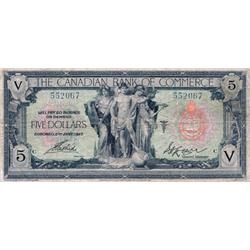 THE CANADIAN BANK OF COMMERCE.  $5.00.  Jan. 2, 1917.  CH-75-16-04-06d.  No. 552067/C.  PMG graded F