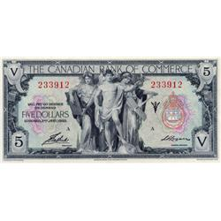 THE CANADIAN BANK OF COMMERCE.  $5.00.  Jan. 2, 1935.  CH-75-18-02. No. 233912/A.  PCGS graded Unc-6