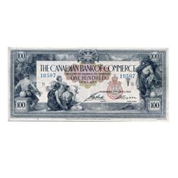 THE CANADIAN BANK OF COMMERCE.  $100.00.  Jan. 2, 1917.  CH-75-16-02-12.  No. 10507/B.  PMG graded V