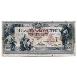 THE CANADIAN BANK OF COMMERCE.  $100.00.  Jan. 2, 1917.  CH-75-16-02-12.  No. 03226/A.  PMG graded V