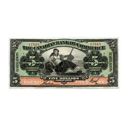 THE CANADIAN BANK OF COMMERCE.  Barbados Issue.  $5.00.  Jan. 2, 1922.  CH-75-20-04.  No. 17948/C.