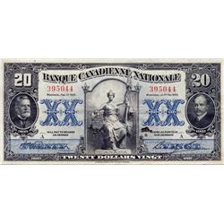 BANQUE CANADIENNE NATIONALE.  $20.00.  Feb. 1, 1925.  CH-85-20-06.  No. 395044.  PMG graded Very Fin