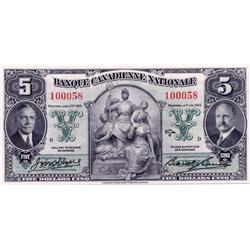 BANQUE CANADIENNE NATIONALE.  $20.00.  Feb. 1, 1929.  CH-85-12-06P.  A Face Proof on thin paper.  Tw