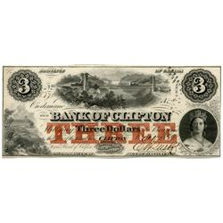 THE BANK OF CLIFTON.  $3.00.  Oct. 1, 1859.  Partially engraved date.  CH-125-10-02-04.  No. 8770/A.