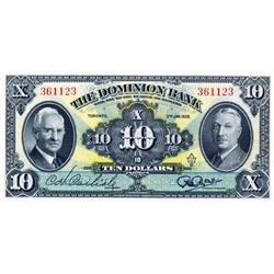 THE DOMINION BANK.  $10.00.  Jan. 3, 1938.  CH-220-28-04.  No. 361123.  Crisp Unc.