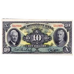 THE DOMINION BANK.  $10.00.  Jan. 3, 1938.  CH-220-28-04.  No. 532908.  CCCS graded Unc-64.