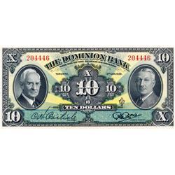 THE DOMINION BANK.  $10.00.  Jan. 3, 1938.  CH-220-28-04.  No. 204446.  Carlisle/Rae.  PMG graded Ch