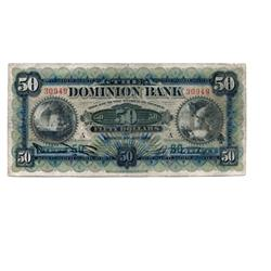 THE DOMINION BANK.  $50.00.  Jan. 2, 1925.  CH-220-22-08.  A.W. Austin, right. No. 30949/A.  About F
