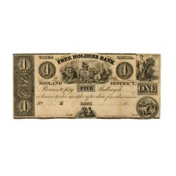 THE FREEHOLDERS BANK OF THE MIDLAND DISTRICT.$1.00.  No date (ca. 1837).  CH-310-10-02R.  A Remainde