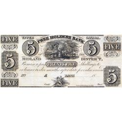 THE FREEHOLDERS BANK OF THE MIDLAND DISTRICT.  $5.00.  No date (ca. 1837).  CH-310-10-04R.  A Remain