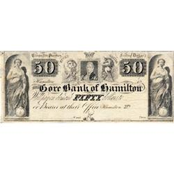 THE GORE BANK OF HAMILTON.  $50.00.  Funfzig Dollar.  Cinquante Piastres.  Ca. 1837.  CH-325-10-06R.