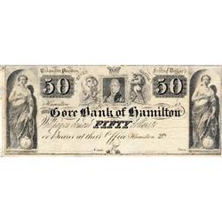 THE GORE BANK OF HAMILTON.  $50.00.  Funfzig Dollar.  Cinquante Piastres.  Ca. 1837.  CH-325-10-06R.