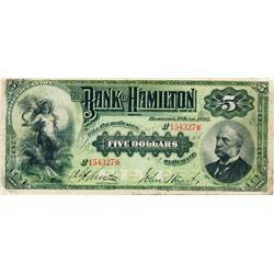 THE BANK OF HAMILTON.  $5.00.  1 June, 1892.  CH-345-16-02a.  No. 154327.  PMG graded Very Fine-20.