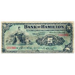 THE BANK OF HAMILTON.  $5.00.  Jan. 2, 1904.  CH-345-18-02.  No. 231366/B.  PMG graded Very Good-10.