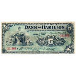 THE BANK OF HAMILTON.  $5.00.  Jan. 2, 1904.  CH-345-18-02.  No. 231366/B.  PMG graded Very Good-10.