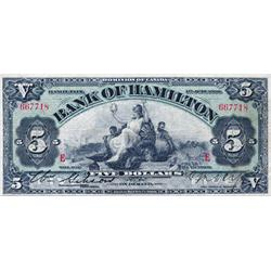 THE BANK OF HAMILTON.  $5.00.  1 June 1909.  CH-345-20-02. 'E'…'E' overprint.  No. 667718.  PMG grad