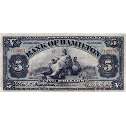 THE BANK OF HAMILTON. $5.00.  June 1, 1914.  CH-345-20-04.  'E'…'E' overprint. No. 1165891.  PMG gra