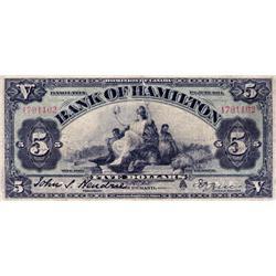 THE BANK OF HAMILTON.  $5.00.  June 1, 1914.  CH-345-20-08.  No. 1791102.  PMG graded VG-10.