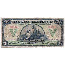 THE BANK OF HAMILTON.  $5.00.  1 March, 1922.  CH-345-22-02.  No. 003112.  PMG graded Very Good-10.